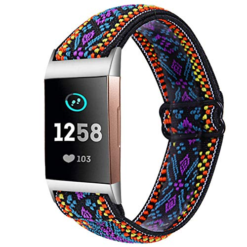 TRISTRAPS Correa de nailon suave compatible con Fitbit Charge 3/Charge 4, banda de repuesto de elasticidad elástica para Fitbit Charge 3/Charge 4, bandas para hombres y mujeres, violeta, Clásico.