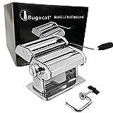 Bugucat Máquina para hacer pasta de acero inoxidable, fresca, manual, cortador con pinza para espaguetis, lasaña, máquina...