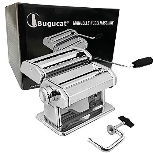 Bugucat Nudelmaschine Pasta Maker, Edelstahl Frische Manuell Pasta Walze Maschine Cutter mit Klemme für Spaghetti Nudeln Lasagne Pastamaschine Einfache Bedienung und Reinigung