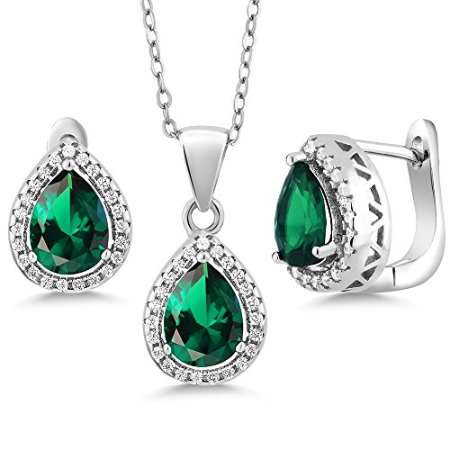Gem Stone King Sterling Silver Pear Shape Green Nano Emerald Pendant Earrings Set 6.50 cttw with 18 Inch Silver Chain