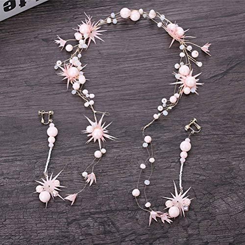 Ihairband Diadema de Cristal, Simple Crepe Rosa Flores De Porcelana Artesanal Beads...