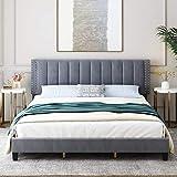 HIFORT King Size Bed Frame, Adjustable Headboard, 10 Inch Upholstered Platform, Bedstead, Mattress Foundation, Wooden Slats Support, No Box Spring Needed, Easy Assembly - Grey