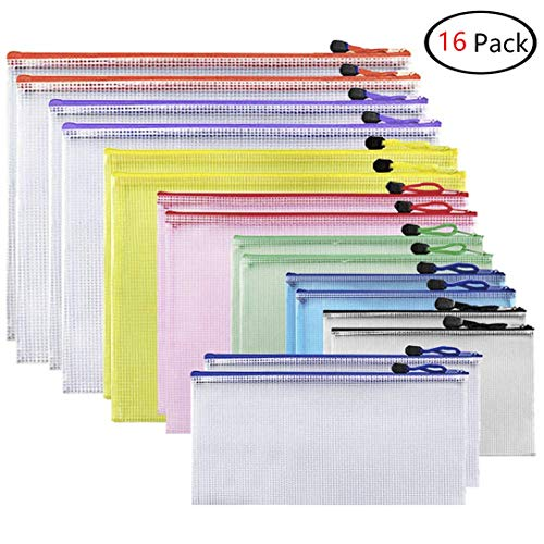 Alumuk 16 Stück Dokumententasche Mesh Taschen Set 8 Stück 8 Größe Reißverschlussbeutel Kunststoff Zip Beutel für Datei, Papier, Dokumente, Kosmetika und Reiseutensilien (verschieden Größe)