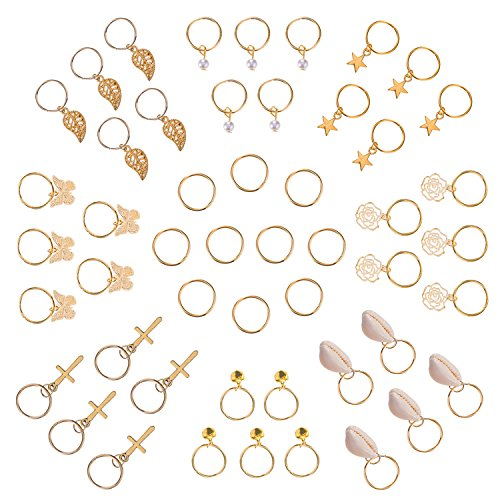 50 Pieces Hair Braid Rings with Shells, Leaves, Stars, Bells, Roses, Butterflies, & Pearl Pendant