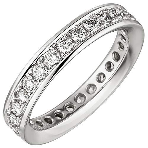 JOBO Damen-Memory-Ring aus 585 Weißgold mit Diamanten Rundum Größe 56