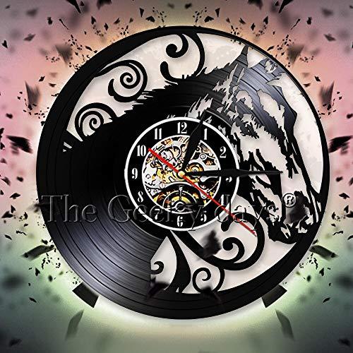 Artwork Horse Silhouette Reloj de pared Vinwood mesa lámpara de mesa lámparas de mesa de noche lámpara de mesa de batería