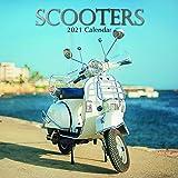 Calendario de pared 2021 - Scooters Calendario, 30 x 30 centímetros Mensual Vista, de 16 meses, con Vintage y Retro Bicicletas, incluye 180 etiquetas en Inglés