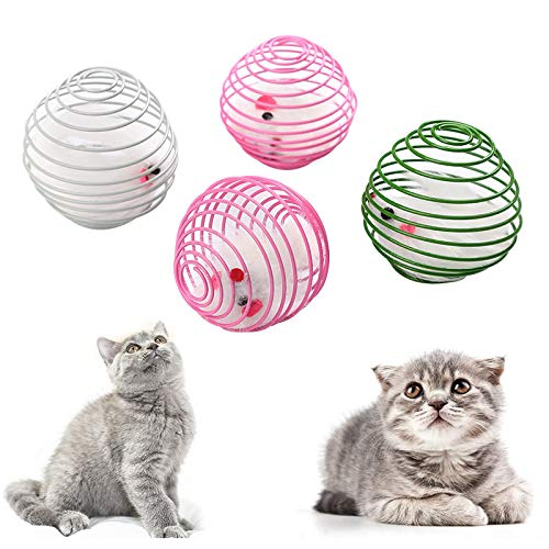 Juguete del Gato Rainbow Ball Cat Toy Pet Spring Prison Jaula Ratón Telescópico Alambre Interactivo Palo Campana Pluma Jugar Juguete Perro...
