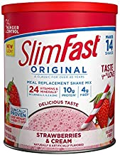 SlimFast Original Strawberries & Cream Meal Replacement Shake Mix – Weight Loss Powder – 12.83 Oz. Canister – 14 Servings - Pantry Friendly