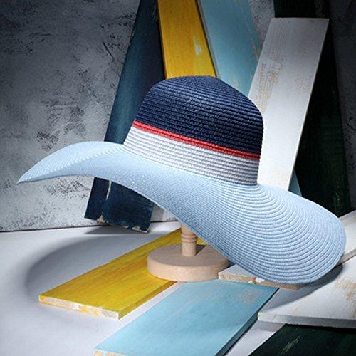 Colorblocking sombrero ala grande señoras playa sombrero