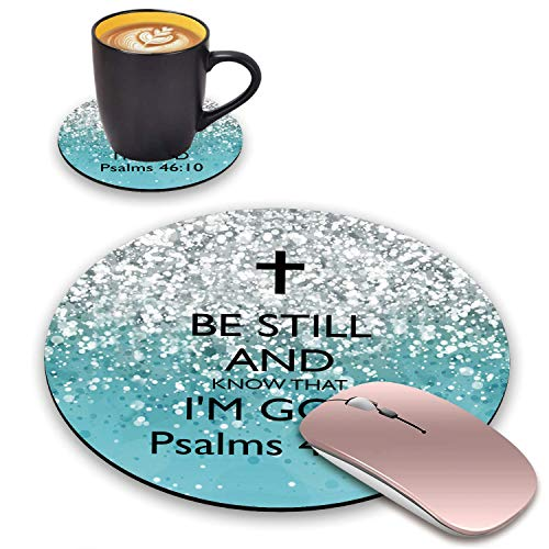 BWOOLL Round Mouse Pad and Coasters Set, Blue Glitter Christian Quote Psalm 46:10 - Be Still and Know That I am God Mouse Pad, Non-Slip Rubber Base Mouse Pads for Laptop and Computer