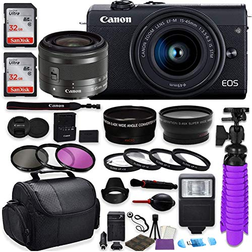 Canon EOS M200 Mirrorless Digital Camera (Black) Premium Commander Optics Accessory Bundle with Canon EF-M 15-45mm is STM Lens (Graphite) + CC2 Case + 64GB Memory + HD Filters + Auxiliary Lenses