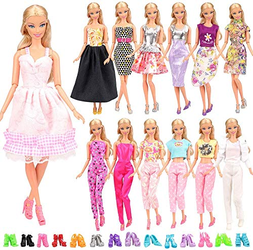 Miunana 15 Pezzi = 5 PCS Fatti A Mano Principessa Abiti Vestiti alla Moda Fashion + 10 PCS Scarpe Selezionati A Caso per 11.5 Pollici 28 - 30 cm Bambola