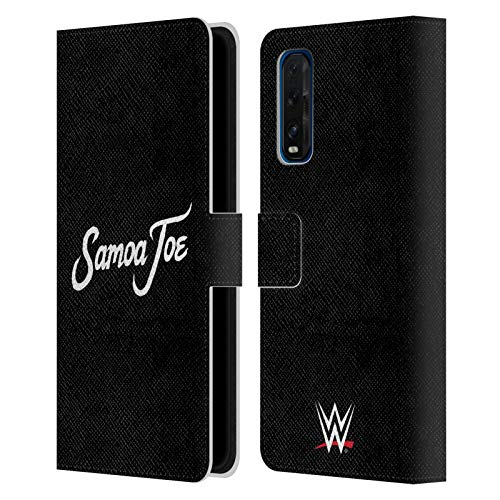 Head Case Designs Officially Licensed WWE Logo Samoa Joe Leather Book Wallet Case Cover Compatible with Oppo Find X2