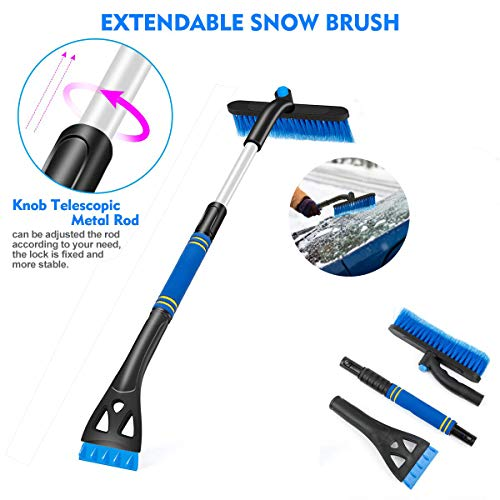 Buy Discount Car Snow Brush 360° Extendable Snow Remover with Ice Scraper & Foam Grip Detachable Sn...