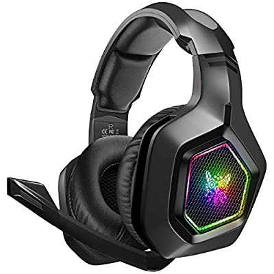 DIZA100 Gaming headset for PS4, PS5, Surround Stereo 3.5mm Gaming Headphones with Mic and RGB Rainbow Light for PS4 Xbox One Nintendo Switch PC Laptop Mac by DIZA100