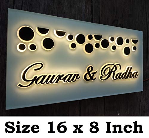 Aarushi Creations Acrylic with Lighting, Laser Cut Personalised Home/Door Name Plate (16 x 12-inch, White)