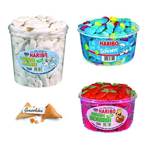 Haribo 3er Set Bundle Mix Weisse Mäuse, Riesen Erdbeeren, Schlümpfe und 1 Genussleben Glückskeks Gratis