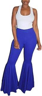 Womens Prom Trousers Elastic Waist Ruffle Bell Bottom Pants