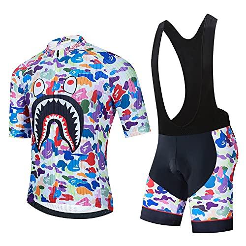 Camiseta De Ciclismo Corta De Verano para Hombre, Traje De Camuflaje, Manga Corta, Pantalones De Ciclismo Acolchados con Gel 4D, Deportes Al Aire Libre (A02,S)