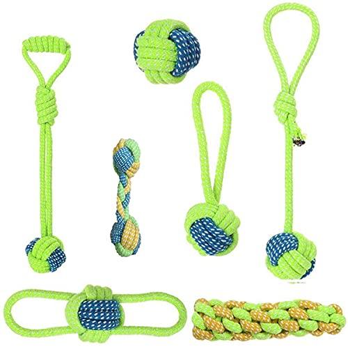 KATONGPET - Juego de 7 juguetes para perros pequeños y medianos, para dentición de cachorros de algodón resistente para masticar cuerdas para interiores y exteriores, juego de juguetes interactivos