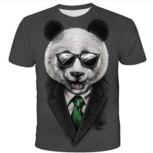 Cartoon Panda Tier Brille Krawatte Anzug 3D-Druck Graues T-Shirt, Schnell Trocknende Atmungsaktive Kurzarm, Sommer Herren Tops Jumper-M