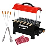 Wellberg Small Electric & Charcoal Barbeque (2 in 1 BBQ) 4 Skewers Multi Purpose Electric Grill