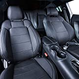 Custom Made PU Leather Seat Cover Full Set for 2015-2020 Ford Mustang Coupe V6 GT (NOT for Convertible) (Black,1st & 2nd Rows)