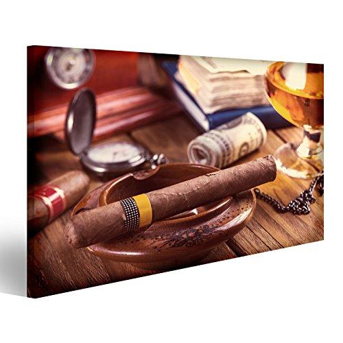 Quadri moderni Rilassante sigaro cubano, dopo una dura giornata, con un bicchiere di rhum Stampa su tela - Quadro x poltrone salotto cucina mobili ufficio casa - fotografica formato XXL DKZ