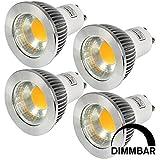 MENGS® 4 Stück Dimmbar GU10 COB LED Rampenlicht Lampe 5W Warmweiß 3000K AC 220-240V Mit Aluminium Mantel