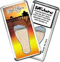 product image for Fort Myers FootWhere Souvenir Fridge Magnet (FM203-Sunset Pier). Authentic destination souvenir acknowledging where you've set foot. Genuine soil of Fort Myers encased inside foot cavity. Made in USA