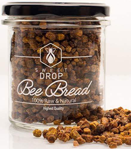 100% natürliches Bienenbrot von Sweet Drop, roh, biologisch, fermentierter Blütenpollen, Perga, Immununterstützung, Energie-Booster, geeignet für Vegetarier, 200 g Glas