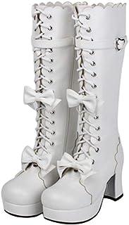 5ce89ceb PINGXIANNV Botas con Plataforma De Suela Gruesa Lolita Zapatos De Mujer Lazo  Vestido De Princesa Botas