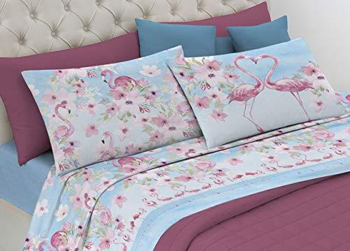 HomeLife Set Lenzuola Letto Matrimoniale Flamingo Cotone, Made in Italy | Completo 2 Piazze Azzurro + Federe | Stampa Flamingo Rosa | Lenzuolo sopra 180x300 + sotto con Angoli 120x200 + Federe 52x82