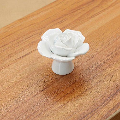 YOIL Vale la Pena Acquistare Manopole dei cassetti 8PCS Ceramica d'Epoca in Ceramica Rosa Manopole Maniglia Cassetto Cassetto Cassetto Manopole con Vite (Colore : White)