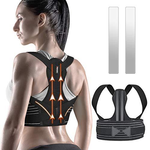 ZINUU Rücken Geradehalter mit Stützstreben Rückenbandage Haltungskorrektor für Männer und Frauen Verbesserung der Körperhaltung und Schmerzlinderung von Nacken Rücken Schulter Taille