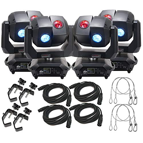 American DJ 3 Sixty 4R Dual Moving Head Lights (4) with DMX Cables (4), Heavy Duty C-Clamps (4), & 44 Inch Safety Cables (4)
