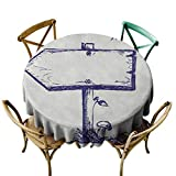 ScottDecor Doodle Kitchen Table Cover Round 40 Inch Wooden Arrow Board with Growing Mushroom and Sun Behind a Cloud Doodle Style Tablecloths for Outdoor and Indoor