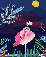 番号によるDiyペイント大人の子供シニア初心者の月とピンクの鳥デジタル絵画キャンバス上の大人の手描きの油絵