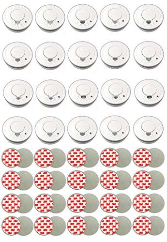 20er Rauchmelder Set mit Magnethalter & Batterie | Feuermelder Brandmelder Magnet Klebepads |...