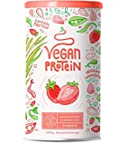 Vegan protein | FRESA | Proteína vegana de arroz, guisantes, semillas de lino, amaranto, semillas de girasol y semillas de calabaza germinadas | 600g de polvo con sabor a Fresa