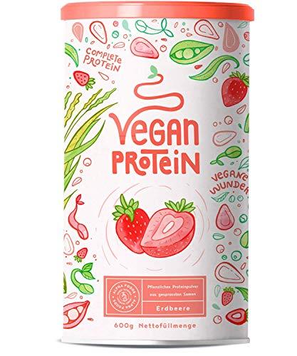 Vegan Protein | ERDBEER | Pflanzliches Proteinpulver aus gesprossten Reis, Erbsen, Chia-Samen, Leinsamen, Amaranth, Sonnenblumen- und Kürbiskernen | 600 Gramm Pulver