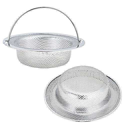 "Kitchen Sink Strainer, 2-Pack Sink Strainer Basket with Handle, 4.5"" Diameter, Stainless Steel, Rust Free and Dishwasher Safe"