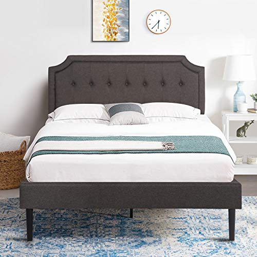 VECELO Premium Upholstered Platform Bed Diamond Stitched Panel Headboard, Metal Frame & 12 Strong Wood Slat Support, Mattress Foundation/Easy Assembly,Full,Gray