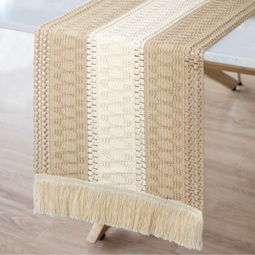 OurWarm Macrame Table Runner Farmhouse Style, Natural Cotton Table Runner Splicing Boho Table Runner with Tassels for Bohemian Rustic Wedding Bridal Shower Home Dining Table Decor, 12 x 108 Inch