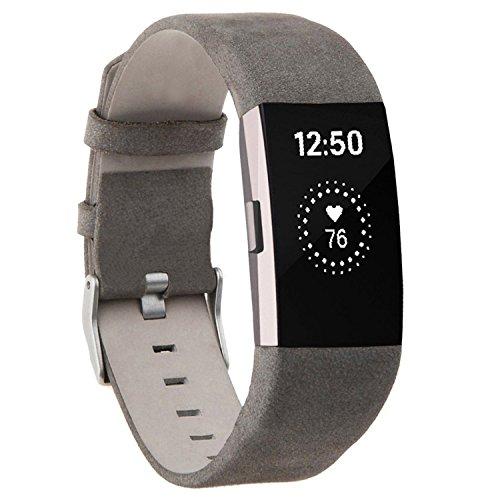 Fitbit Charge 2 Armband , ANGGO Fitbit Charge 2 Ersatz Lederbänder Sport Band Uhrenarmband Lederarmband Erstatzband Armbänd Für Fitbit Charge 2 Unisex Armband (Grau)