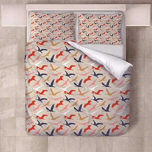 NHBTGH Duvet Cover Set 55.12x86.61 inch Animal Bird Pattern 1 Quilt Cover +2 Pillow Cases (2x19.69x29.53 inch) Easy Care Polyester Bedding Bedroom Set with Zipper Closure - Red