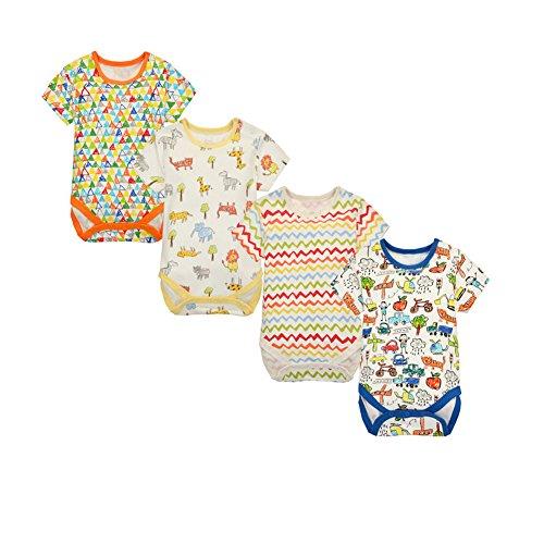 CuteOn bébé Garçons Filles 4pcs Manche courte Bodysuit Triangle Romper bébé Vêtements 24 Mois