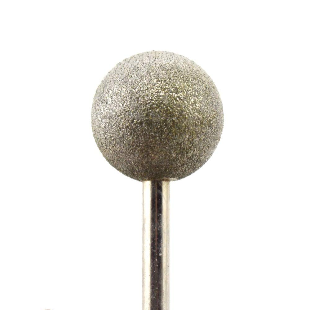 Stock-Home Abrasive Tools Grit: Head Diameter 12mm 12-25 mm Spherical Head Diamond Grinding Bit Coated Mounted Points Grit 150 Medium Round Ball Burs Shank 6 Tools for Stone
