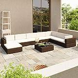 FANSI Rattan <span class='highlight'>Garden</span> <span class='highlight'>Furniture</span> <span class='highlight'>Sets</span> 8 PCS Modular Sofa Set <span class='highlight'>Patio</span> Conservatory Sofa Outdoor Sectional Corner Sofa with Cushions, Pillows and Glass-Top Coffee Table (Brown)